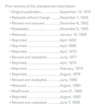 История публикаций стандарта BOMA 1996
