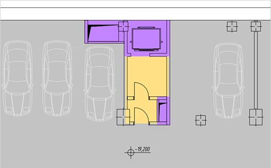 Фрагмент плана парковки по стандарту БОМА 2010